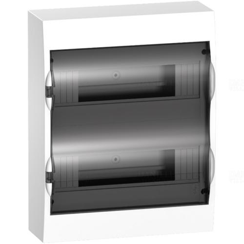 EZ9E212S2S 2 sor 12 modul falon kívüli PEN sínnel fehér, komplett, füstszínű ajtóval