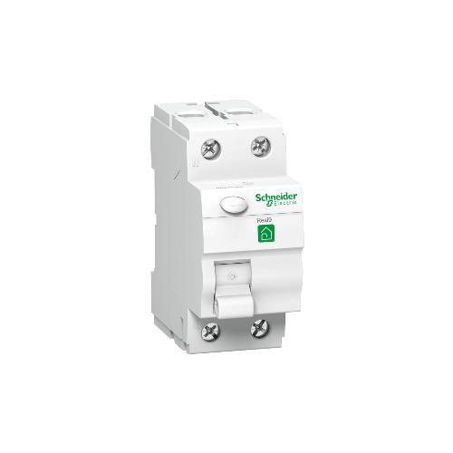RESI9 áram-védőkapcsoló, AC osztály, 2P, 63A, 30mA R9R11263