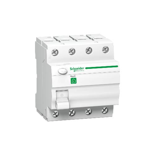 RESI9 áram-védőkapcsoló, AC osztály, 4P, 63A, 30mA R9R11463