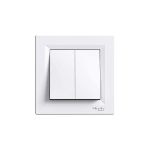 Schneider Electric ASFORA Kettős váltókapcsoló, rugós bekötés, kerettel fehér (106+6) EPH0600121