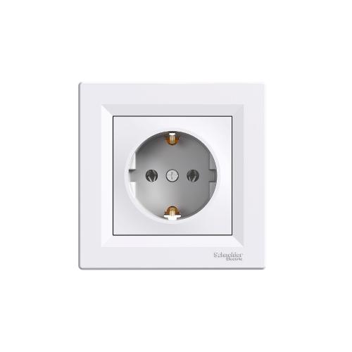 Schneider Electric ASFORA 2P+F csatlakozóaljzat, csavaros, kerettel, fehér EPH2900121