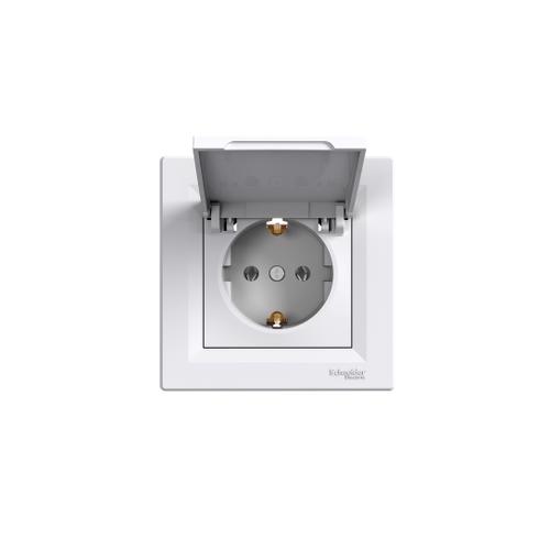 Schneider Electric ASFORA 2P+F csatlakozóaljzat, csapfedeles, kerettel, fehér EPH3100121 (IP 20)